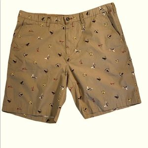 EDDIE BAUER Camano Tan Fishing Lure Print Short 38